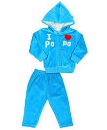 Pink Rabbit Hooded Jacket And Pajama Papa Patch - Sky Blue