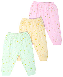 Zero Full Length Leggings Set Of 3 - Green Pink Yellow