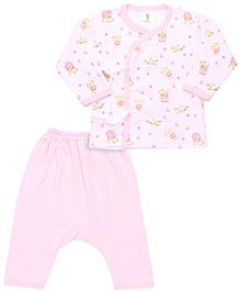 Cucumber Full Sleeves T-Shirt And Dipper Leggings Multi Print - Light Pink