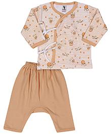 Cucumber Full Sleeves T-Shirt And Dipper Leggings Multi Print - Dark Peach