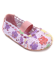 Doink Slip On Belly Shoes Floral Design - Pink And Peach