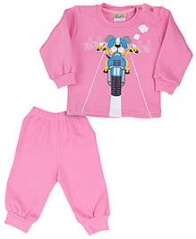 Babyhug Full Sleeves T-Shirt And Legging Set Graphic Print - Pink
