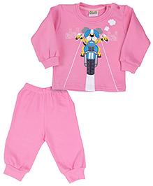 Babyhug Full Sleeves T-Shirt And Legging Set Graphic Print - Pink