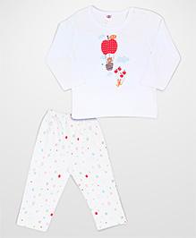 Zero Full Sleeves T-Shirt And Pajama Bear Print White Base - Aqua Blue