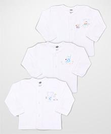 Zero Full Sleeves Vests Multi Print Set Of 3 - White