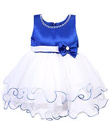 Babyhug Sleeveless Party Frock With Satin Bodice - Blue And White