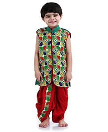 Babyhug Sleeveless Self Pattern Jacket And Dhoti Set - Red And Green