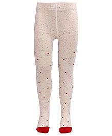 Mustang Footed Tights Stockings - Cream & Red