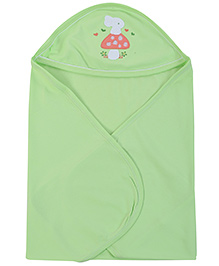 Simply Hooded Towel Cat Embroidery - Green