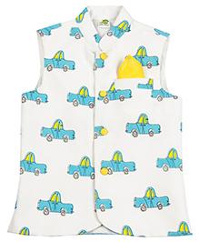 Little Stars Nehru Jacket Cars Print - White