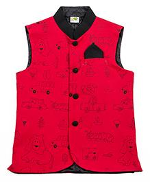 Little Stars Nehru Jacket Objects Print - Maroonish Red