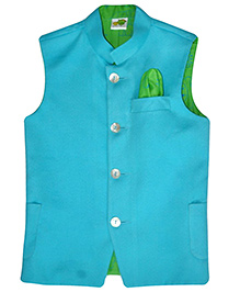 Little Stars Suede Nehru Jacket - Sky Blue