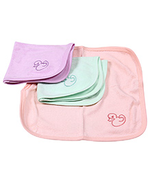 Simply Face Napkins Duck Embroidery Set Of  3 - Light Green Purple Peach