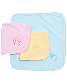 Simply Face Napkins Duck Embroidery Set Of  3 - Pink Yellow Blue
