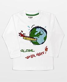 Fido Full Sleeves T-Shirt Global Print - White