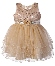 Babyhug Sleeveless Layered Net Frock - Fawn