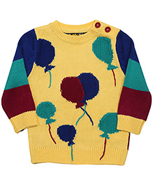 Yellow Apple Full Sleeves Pull Over Sweater - Yellow