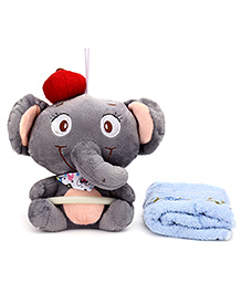 Napkin With Holder Elephant Deisgn - Grey And Blue