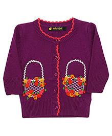 Yellow Apple Full Sleeves Cardigan Sweater - Purple