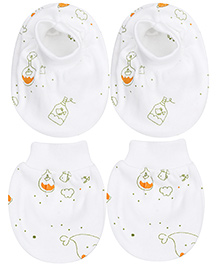 Simply Mittens And Booties Whale Design Set Pack of 2 White Base - Green
