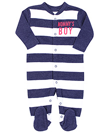 Fox Baby Footed Romper Mommy's Boy Print - Navy Blue And White