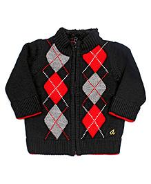 Yellow Apple Zip Front Drifter Cardigan Sweater - Black