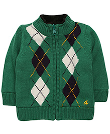 Yellow Apple Zip Front Drifter Cardigan Sweater - Green