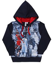 Mickey Hooded Jacket Basketball Players Print - Navy