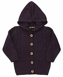 Yellow Apple Hooded Cardigan Sweater - Dark Purple