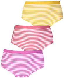 Cucumber Panties Stripe Print Set Of 3 - Pink Red Yellow