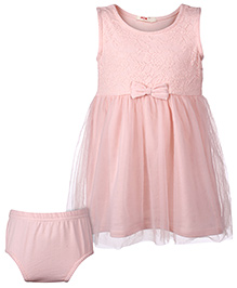 Fox Baby Sleeveless Frock With Bloomer Bow Applique - Pink