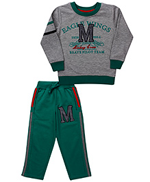 Mickey T-Shirt And Track Pant Eagle Wings - Grey Green
