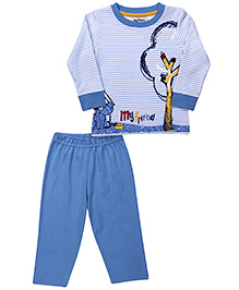 Mickey T-Shirt And Pant My Friend Print - Sky Blue