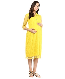 Mine4Nine Three Fourth Sleeves Maternity Collar Lace Dress - Yellow