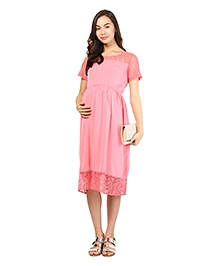 Mine4Nine Half Sleeves Maternity Dress Lace Border - Pink