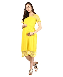 Mine4Nine Half Sleeves Maternity Dress Lace Border - Yellow