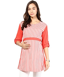 Mine4Nine Three Fourth Sleeves Maternity Top Stripes And Belt - Red