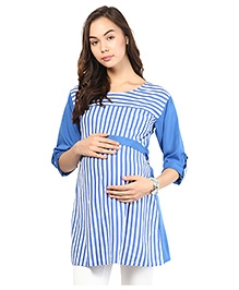 Mine4Nine Three Fourth Sleeves Maternity Top Stripes And Belt - Blue