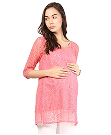 Mine4Nine Three Fourth Sleeves Maternity Lace Top - Pink
