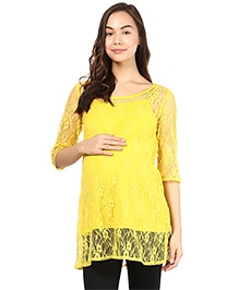 Mine4Nine Three Fourth Sleeves Maternity Lace Top - Yellow