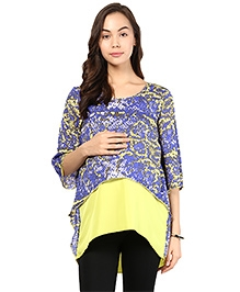 Mine4Nine Three Fourth Sleeves Asymmetric Crop Top - Yellow And Purple