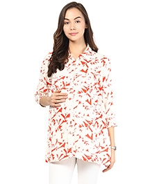 Mine4Nine Three Fourth Printed Maternity Shirt - Red And White