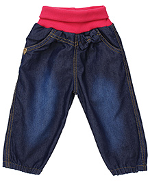 Little Kangaroos Pull Up Jeans Bow Applique - Dark Blue And Pink