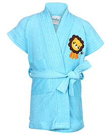 Babyhug Half Sleeves Solid Color Bathrobe Lion Embroidery - Aqua Blue