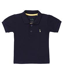 Babyhug Collar Neck T-Shirt With Logo Motif - Navy Blue