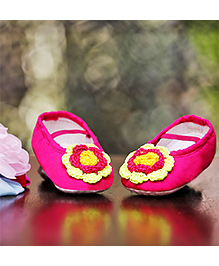 D'chica Shoes Neon Chic Crochet Flower Booties - Pink