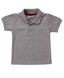 Babyhug Collar Neck T-Shirt With Logo Motif - Grey