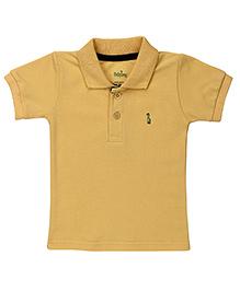 Babyhug Collar Neck T-Shirt With Logo Motif - Light Yellow