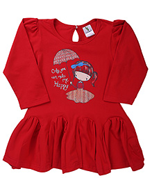 Cucumber Full Sleeves Frock Caption Print - Red