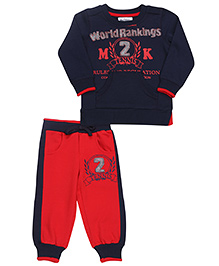 Mickey T-Shirt And Track Pant Printed - Navy Red